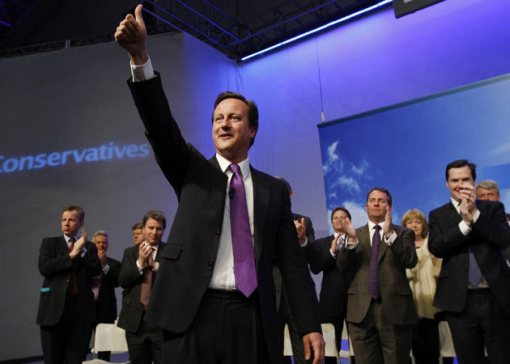 Conservative leader David Cameron at a party conference, after delivering his 'age of austerity' speech
